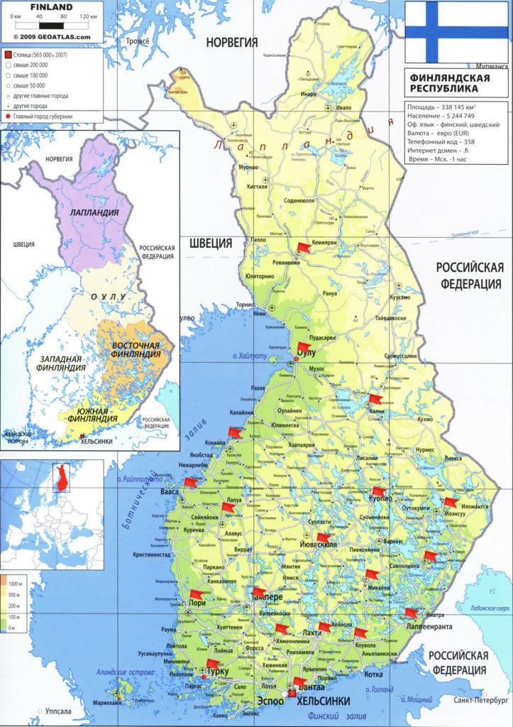 вузы Финляндии на карте